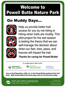 Friends of Powell Butte Nature Park sign On Muddy Days